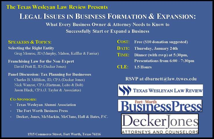 Legal Issues in Business Formation & Expansion (Jan 24th)